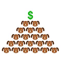 Puppycoin pyramid scheme flat icon vector