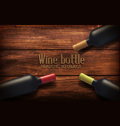 realistic with three wine bottles vector image