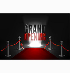 Red carpet between two barriers red ribbon cut vector