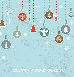 Retro Christmas background with decorative balls vector