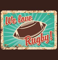 rugby metal plate rusty football american sport vector image