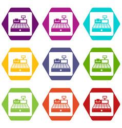sale cash register icon set color hexahedron vector image