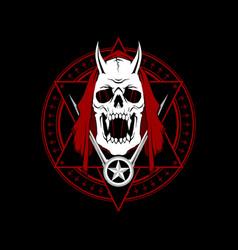 Satanic pentagram devil skull with st vector