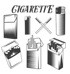 Set cigarette lighter and pack of vector