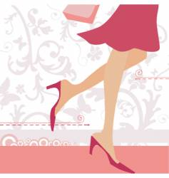 Shopping girls heels vector