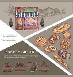 sketch baking products template vector image
