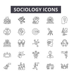 sociology line icons for web and mobile design vector image