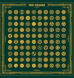 steampunk gears set victorian era vintage vector image
