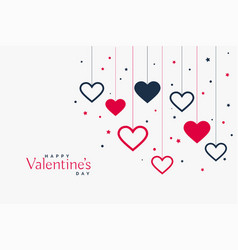 stylish hanging hearts background for valentines vector image