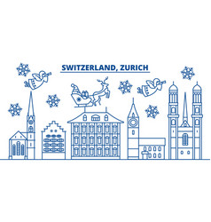 Switzerland zurich winter city skyline merry vector