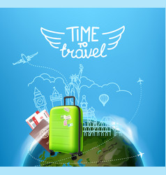 time to travel concept with bag vector image