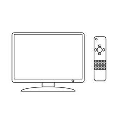 TV and remote icon outline style vector image