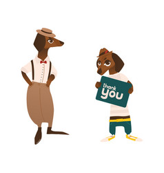 Two dachshund badger dog characters in clothes vector