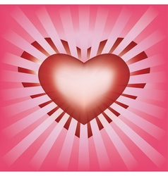 Valentines background with heart and rays vector image