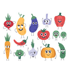 vegetable mascots happy carrot cute cucumber and vector image