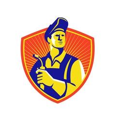 Welder visor up front shield vector