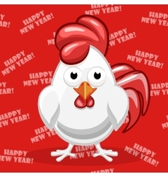 White cartoon Rooster Symbol Happy New Year vector