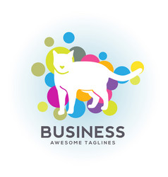 White cat bubble color logo vector