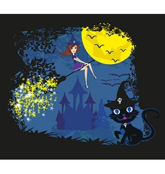 witch with a broom and a cat vector image