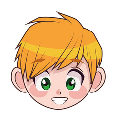Young blond teenager boy kid head character vector
