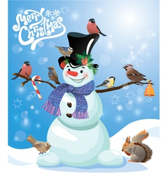Card with funny snowman and birds on blue snow bac vector image vector image