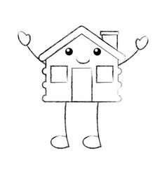 cartoon cabin house wooden chimney comic vector image vector image