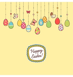 Easter hang eggs yellow vector image vector image