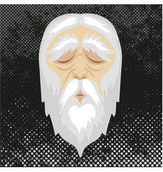 face old man with closed eyes and white hair vector image