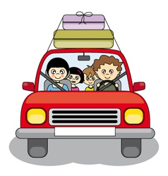 Family goes on holiday by car vector image vector image