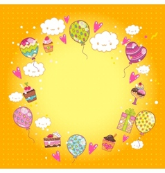 Happy Birthday card with cupcakes and balloons vector image vector image
