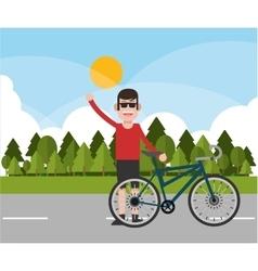 Man riding bike and landscape background design vector image
