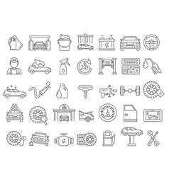 mono line pictures of automobile parts vector image