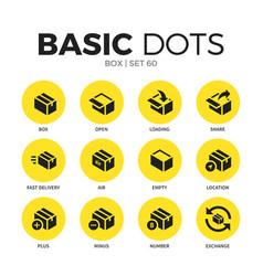 box flat icons set vector image vector image