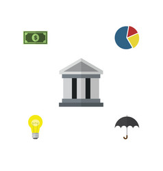 Flat icon finance set of graph greenback bubl vector