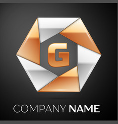 letter g logo symbol in the colorful hexagon on vector image