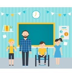Male Teacher with Young Students in Classroom vector image vector image