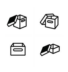 parcel box open box icons vector image vector image