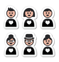 People in love valentines day icons set vector image vector image