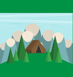 vintage background with forest mountains and hills vector image