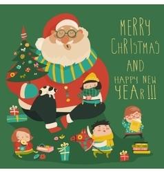 Cartoon Santa with kids vector image
