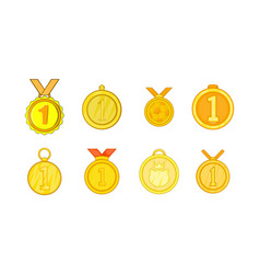 medal icon set cartoon style vector image vector image
