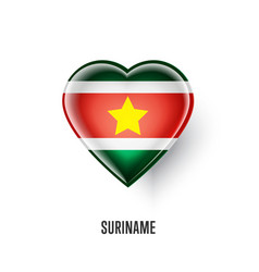 patriotic heart symbol with suriname flag vector image vector image