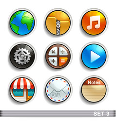 round button icons-set 3 vector image