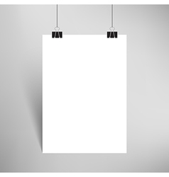 Blank paper with paperclips and shadow vector image