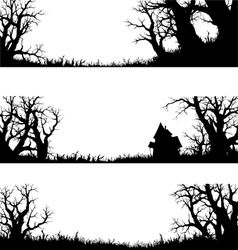 halloween banner and elements silhouette vector image vector image
