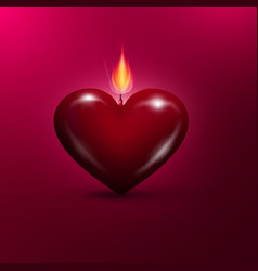 heart shaped lit candle valentines day background vector image