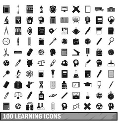 100 learning icons set simple style vector image