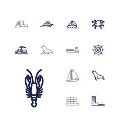 13 marine icons vector
