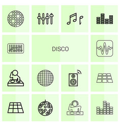 14 disco icons vector image
