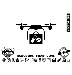 Airdrone Pharmacy Delivery Flat Icon With 2017 vector